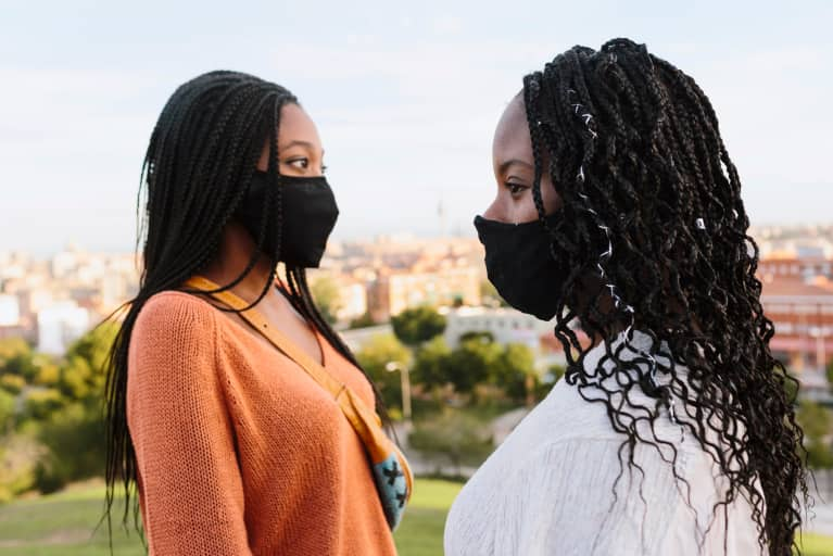 Black Women With Face Mask Outdoors