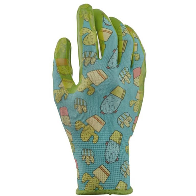 blue gardening gloves with cactus print