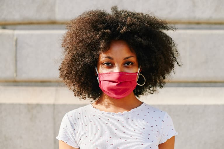 Young Woman Wearing A Protective Face Mask Outside