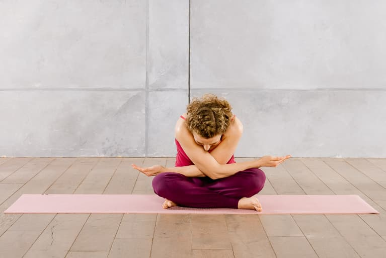 Easy Pose with Arm & Shoulder Stretch