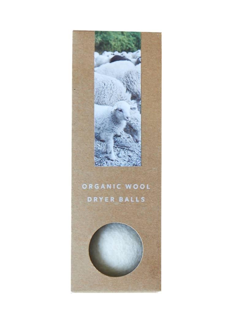 wool dryer balls in cardboard packaging