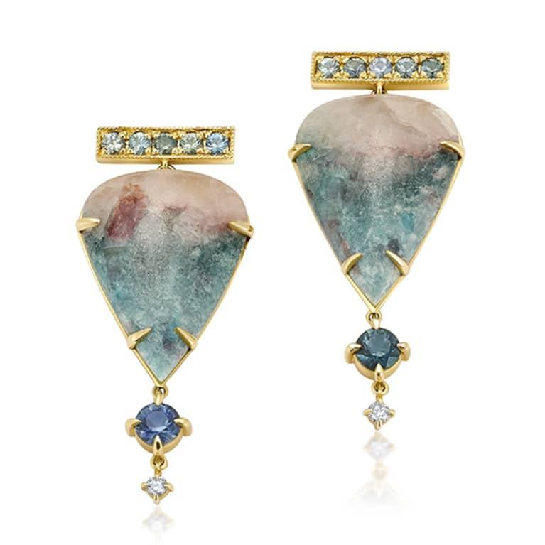 Tourmaline + Diamond teardrop earings