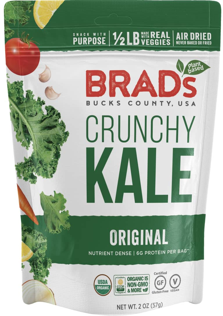 Brad's Plant Based Original Crunchy Kale chips package with green font and images of kale leaves on the front.