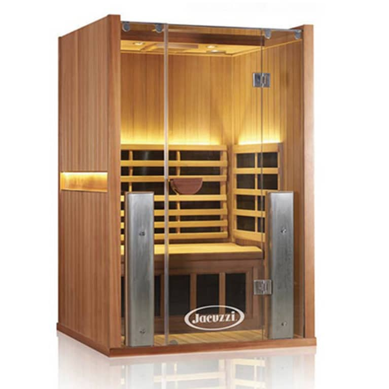 Wooden two-person sauna with interior lighting and bench