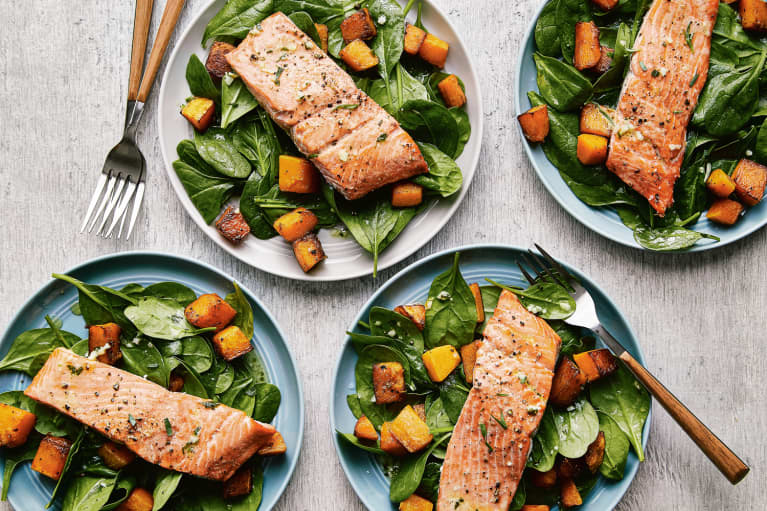 Roasted Salmon, Spinach, Butternut Squash Salad