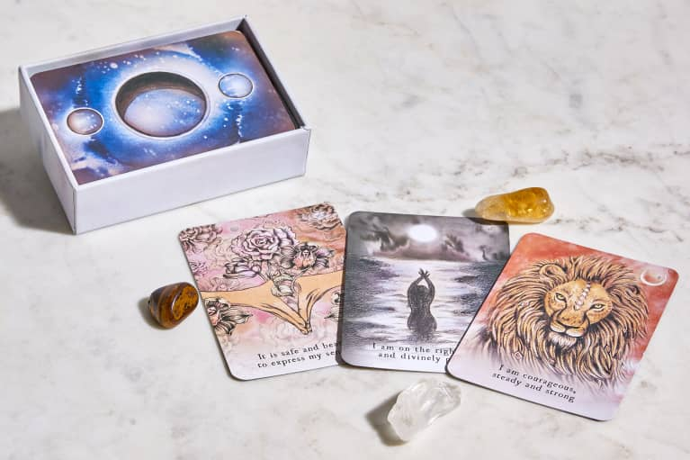 Three Moon Deck Oracle Cards in a Spread