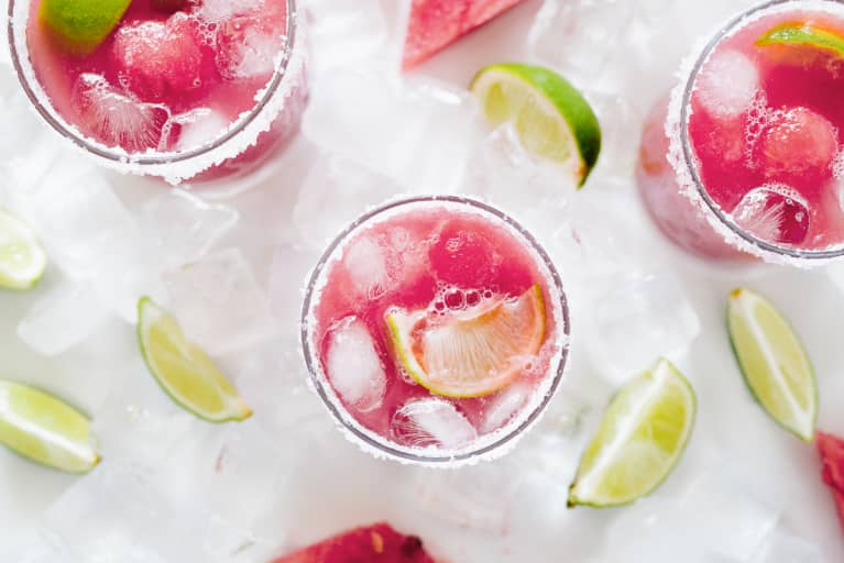 Berry Watermelon Margaritas with Fresh Lime Wedges