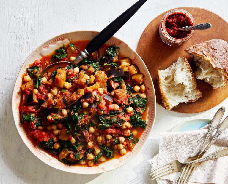 Harissa Braised Eggplant With Kale & Chickpeas
