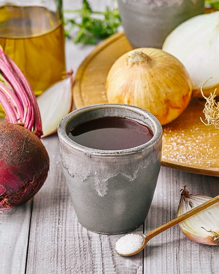 Vegan Beet Root Broth with Vegetables and Seasonings