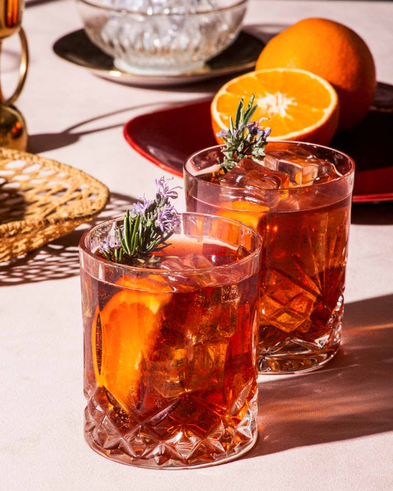 Cranberry Sauce Old Fashioned with Herbs and Orange