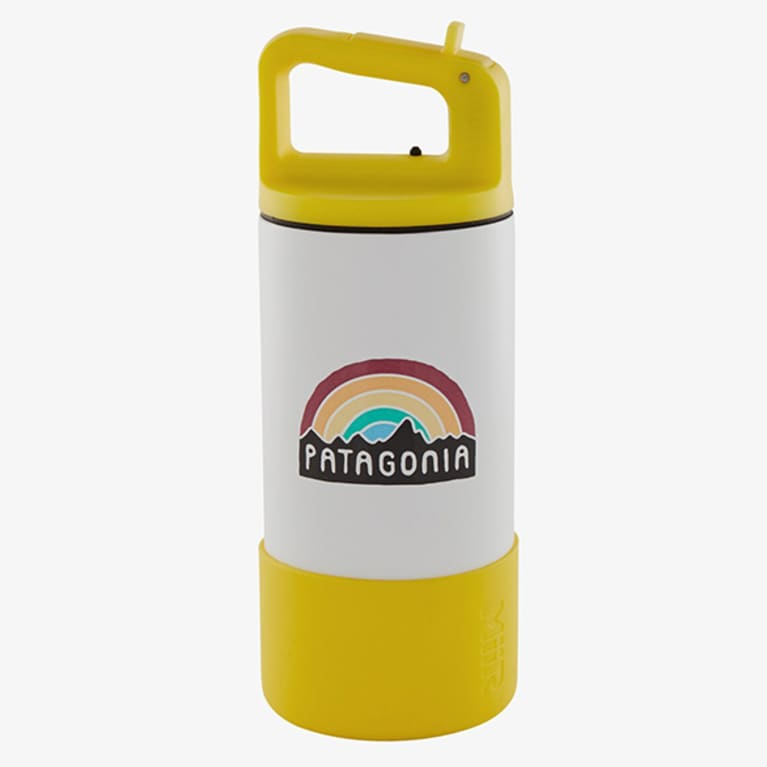 white insulated water bottle with golden yellow base and cap
