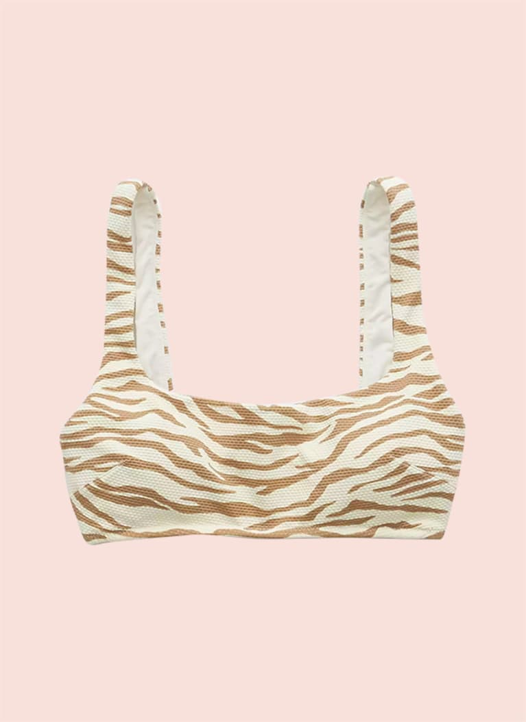 Aerie Pique Animal Print Wide-Strap Scoop Bikini Top
