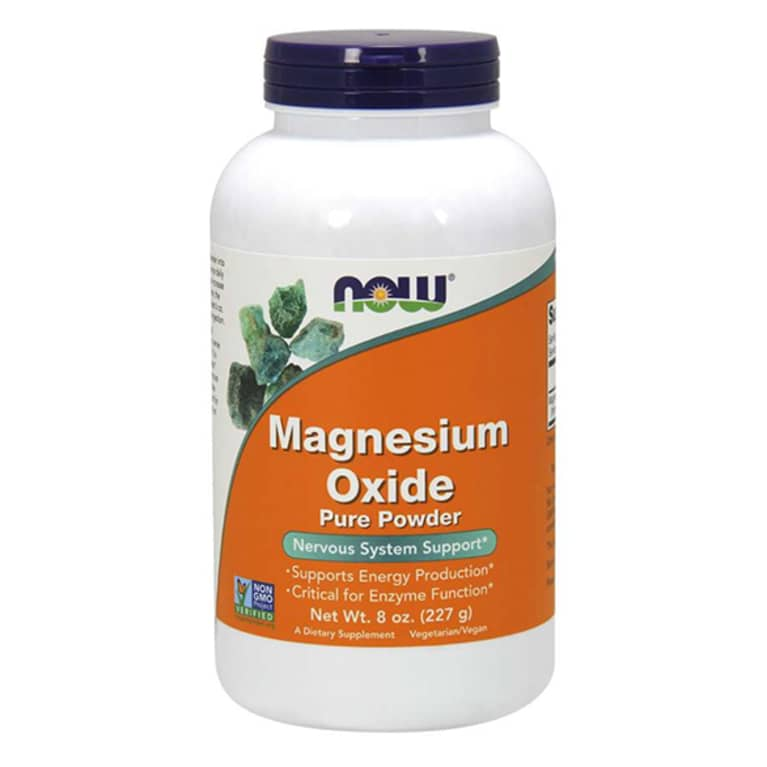 Magnesium oxide supplement bottle with orange label