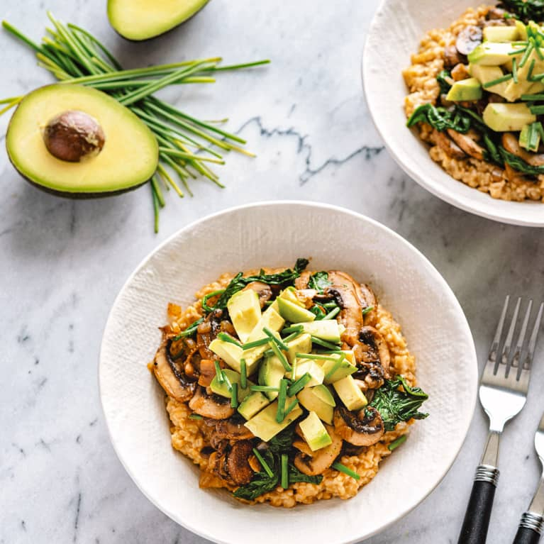 Savory Breakfast Oatmeal with Avocado and Mushrooms