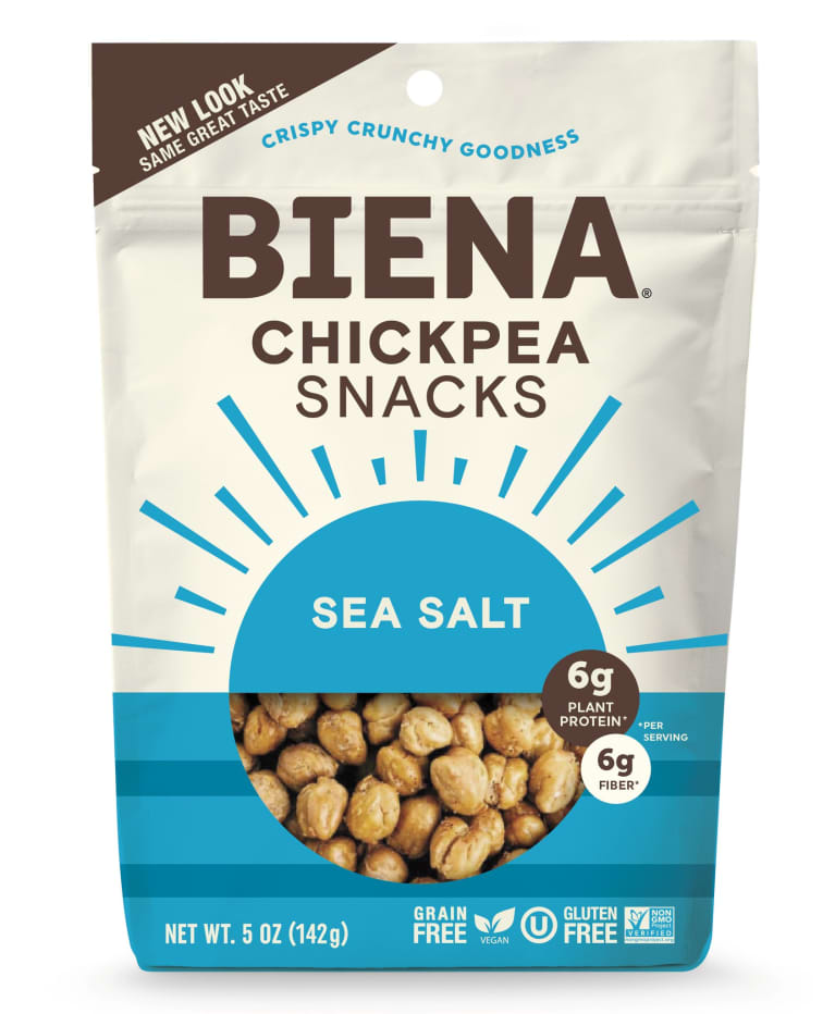 Biena chickpea snack package with brown font and roasted salty chickpeas on the front.