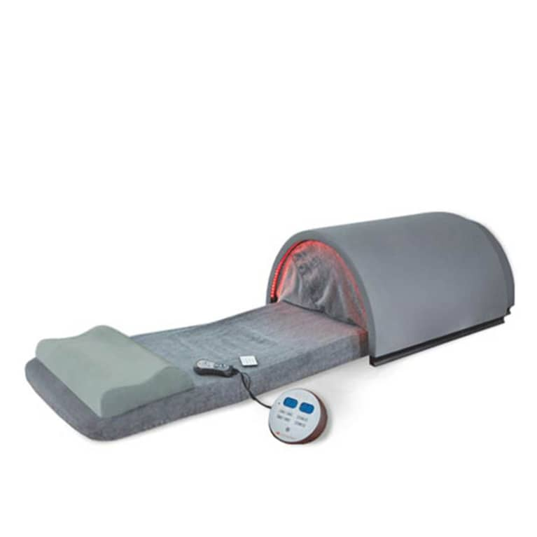 Grey portable sauna pad with pillow and remote control