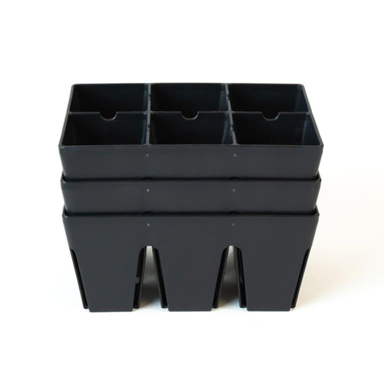 black trays for storing soil