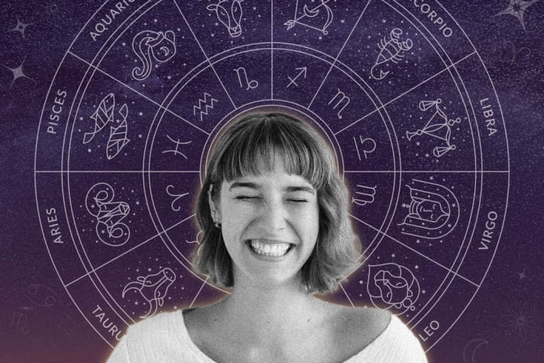 woman smiling with mystical zodiac wheel behind her head