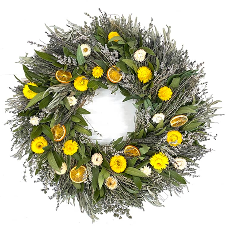 colorful wreath with lavender and dried citrus fruits