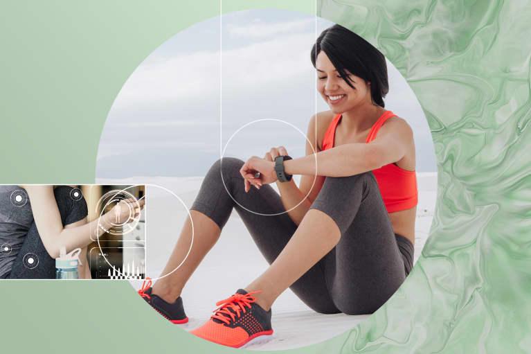 Health gadgets on healthy women