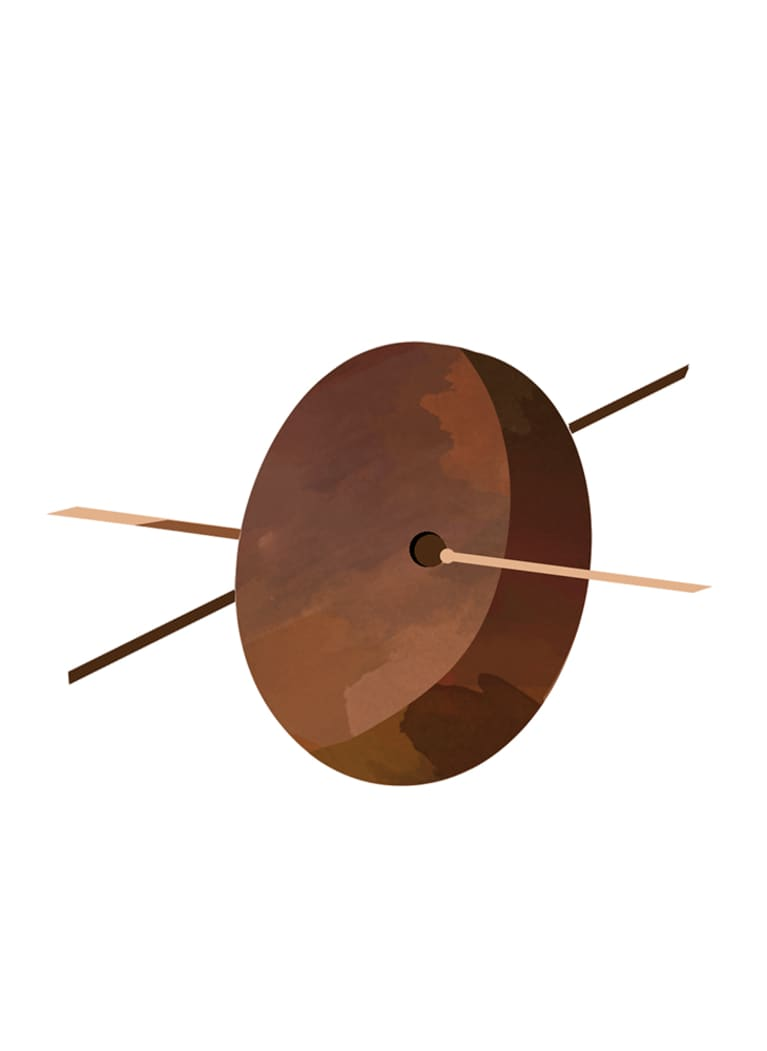 illustration of avocado pit with toothpicks in it