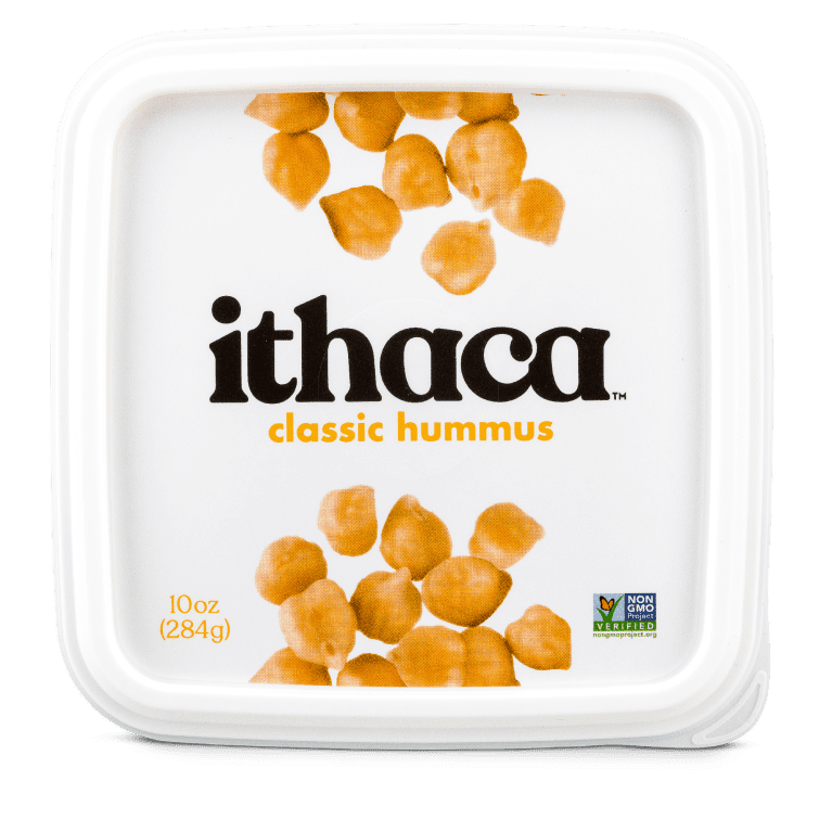 White hummus packaging with chickpeas on the lid, Ithaca written in black and classic hummus written in yellow font.