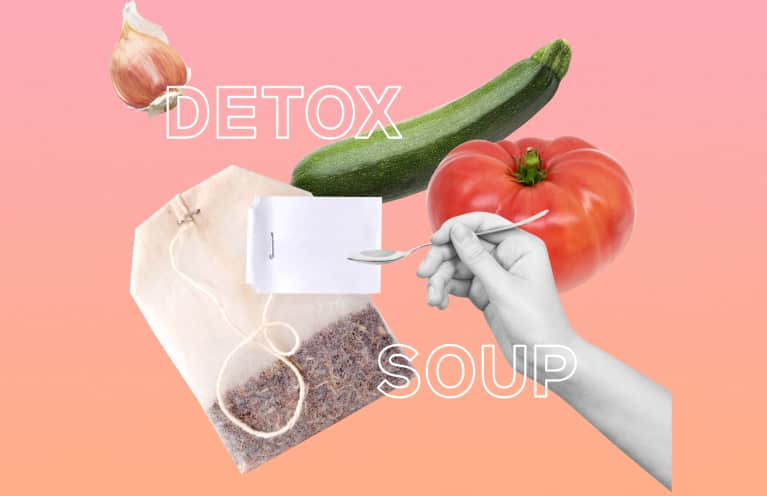 detox soup ingredients collage