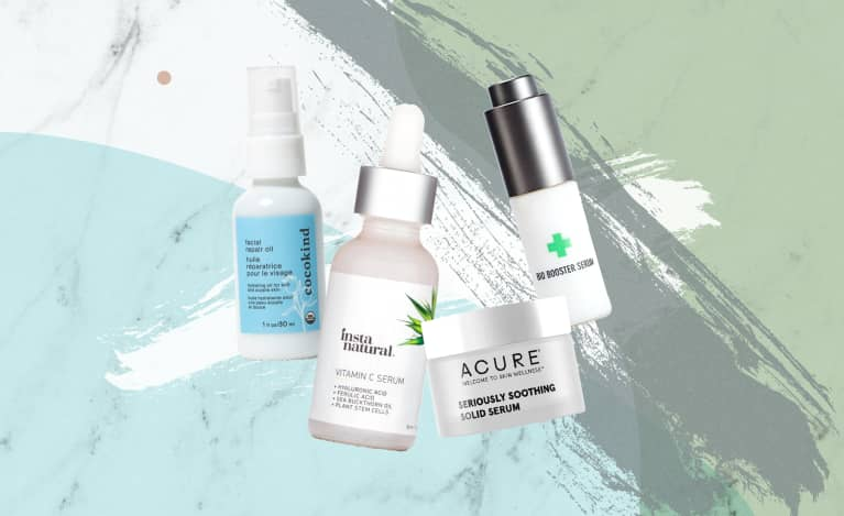 collage of budget natural face serums
