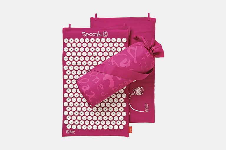 pink acupressure mat and bag