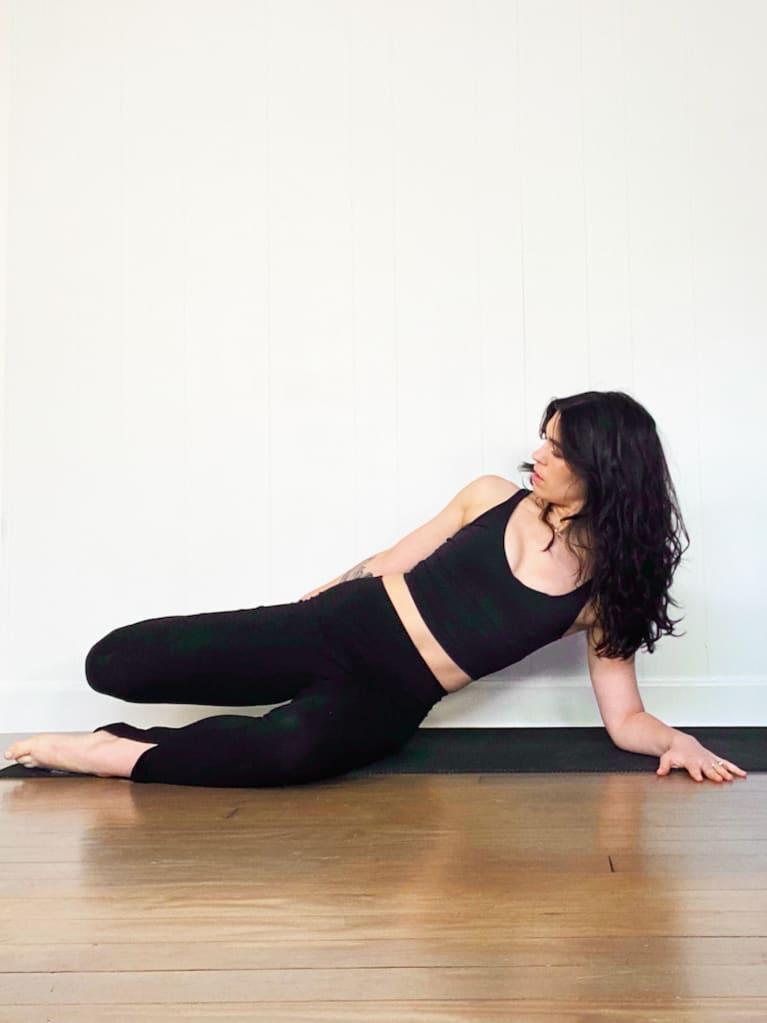 Side lying psoas stretch