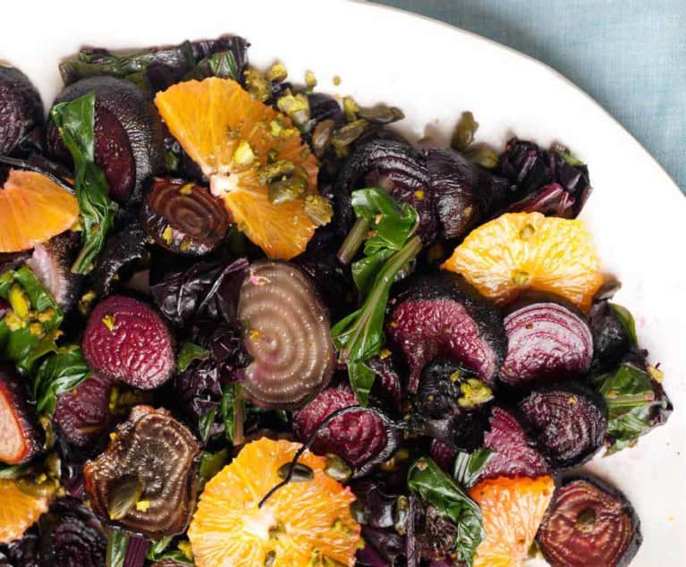 Roasted Beet Salad With Beet Greens, Oranges & Pistachios