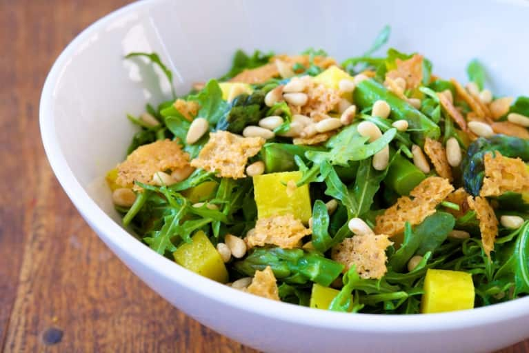 Asparagus, Arugula & Beet Salad With Parmesan Crisps