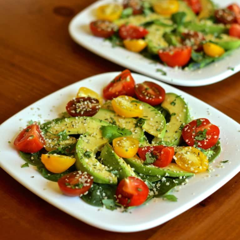 Summer Heirloom Tomato, Avocado & Herb Salad