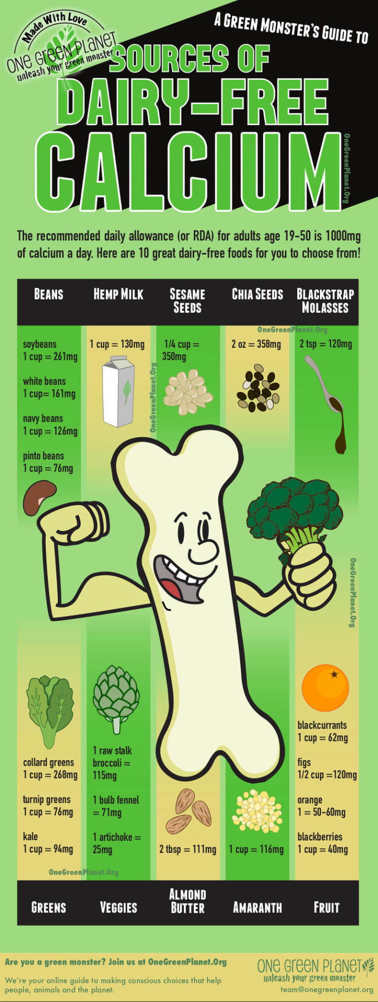 The Best Sources Of Dairy-Free Calcium (Infographic)