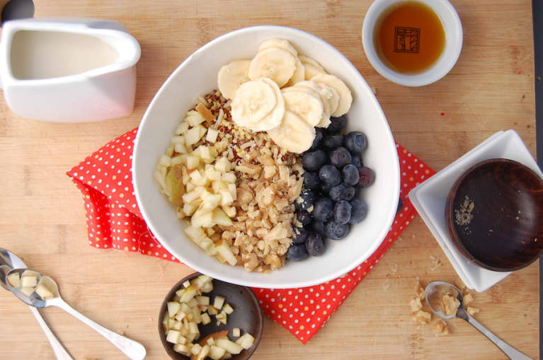 Gluten-Free Breakfast Cereal With Banana, Blueberries & Walnuts