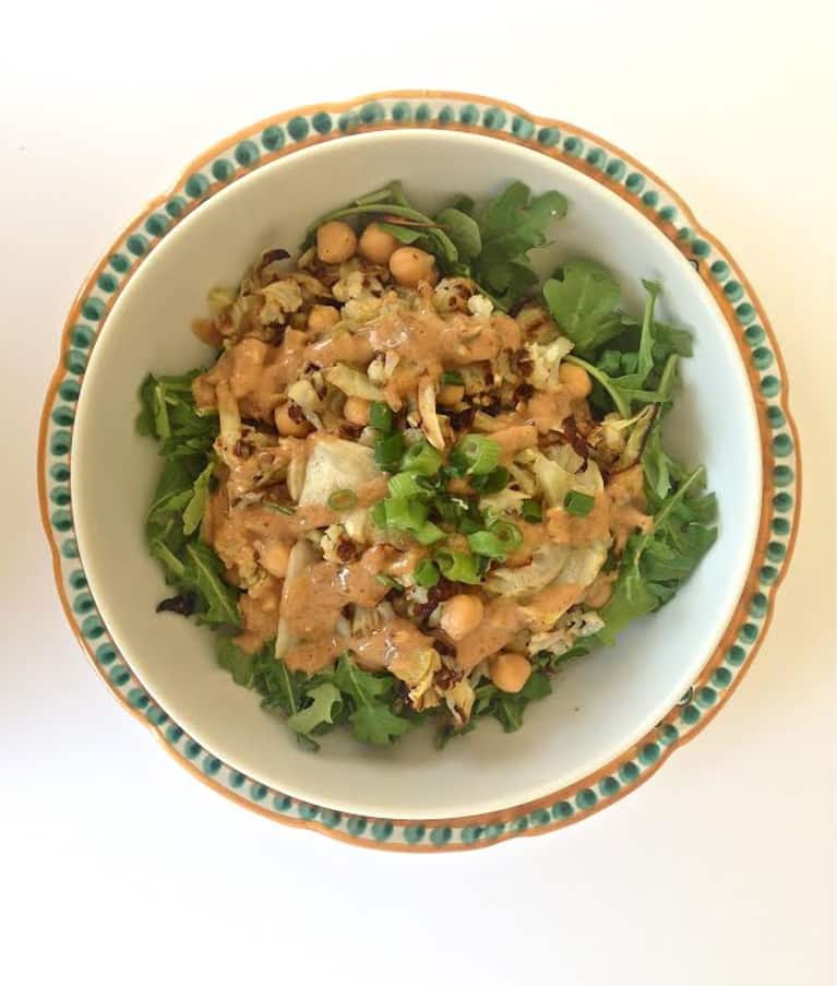 Roasted Cabbage & Cauliflower Salad With Peanut Dressing