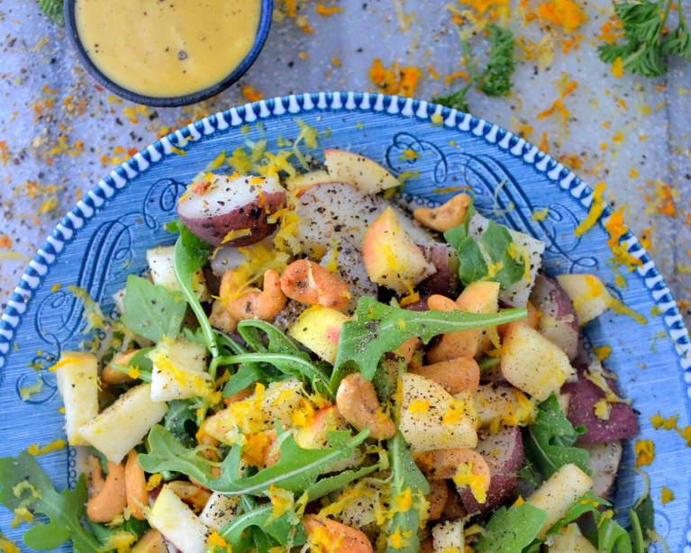 Detoxifying Apple + Arugula Salad With Maple Tahini Dressing