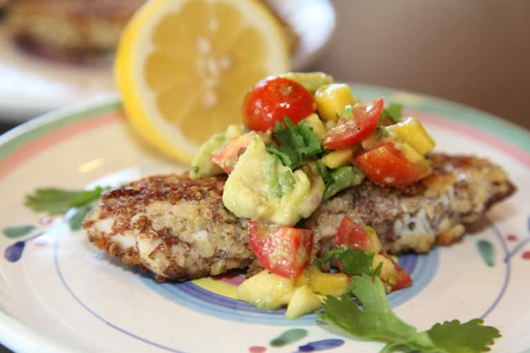 Gluten-Free Recipe: Crusted Tilapia & Mango-Avocado Salsa