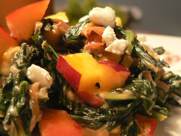 Goat Cheese Creamed Dandelion Greens With Nectarines