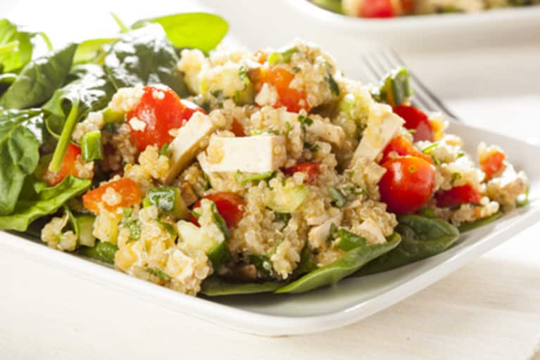 Tofu & Vegetable Quinoa Over Spinach