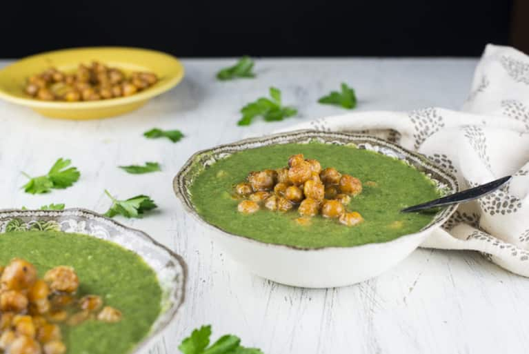 Super Greens Soup With Crispy Chickpea Croutons