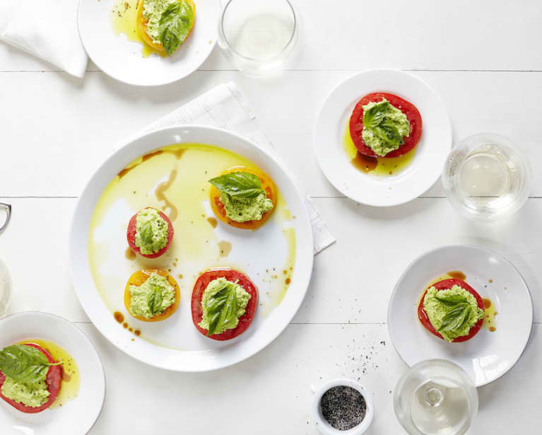 """Herbed Pea """"Ricotta"""" With Tomatoes & Basil"""