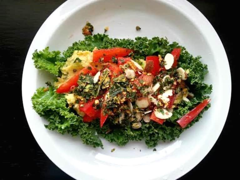 """Vegan Chickpea """"Egg Salad"""" Served Over Kale"""