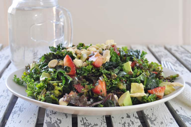 Simple Summer Salad With Strawberries & Kale