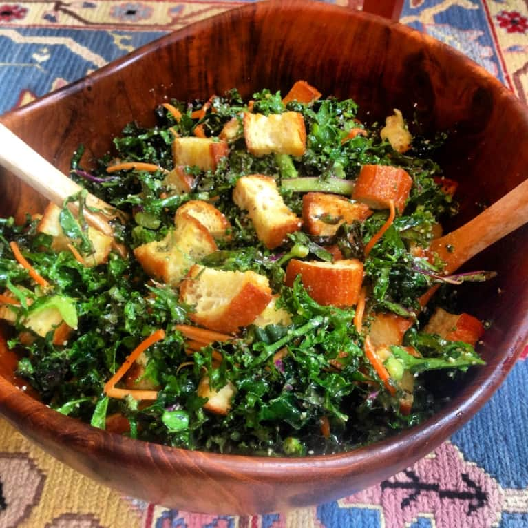 Vegetarian Kale Caesar Salad With Homemade Garlic Croutons
