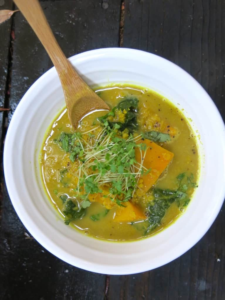 Pumpkin-Lentil Soup With A Maca Boost