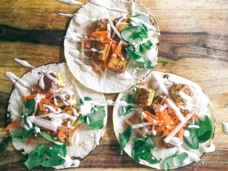 Moroccan-Spiced Tofu Tacos With Kohlrabi, Watercress + Tahini