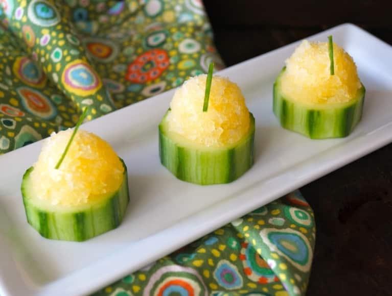 Tasty & Refreshing Orange Granita Cucumber Cups