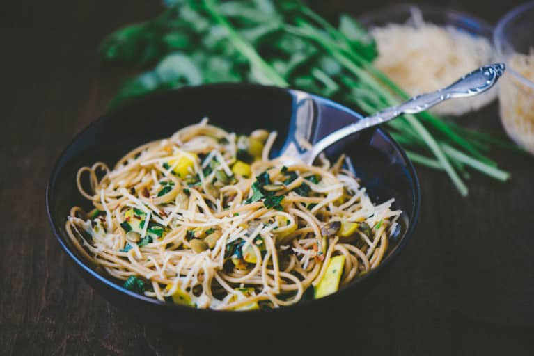 Simple Pasta With Summer Squash & Spinach