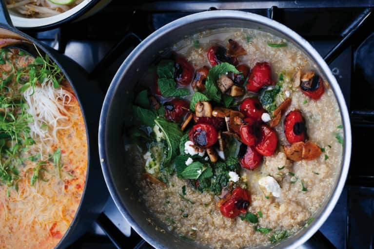 Quinoa Porridge With Grilled Tomatoes & Garlic